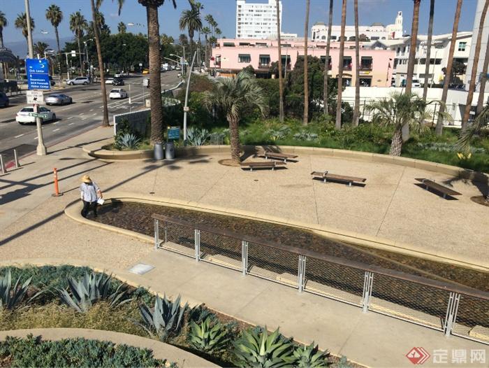 现代某公园景观设计图-水景卵石池园路地面铺装坐凳