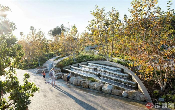 现代某公园景观设计图-台阶水景景石植物地面铺装-师
