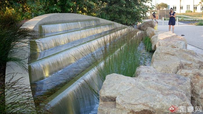 现代某公园景观设计图-水景景石植物-设计师图库
