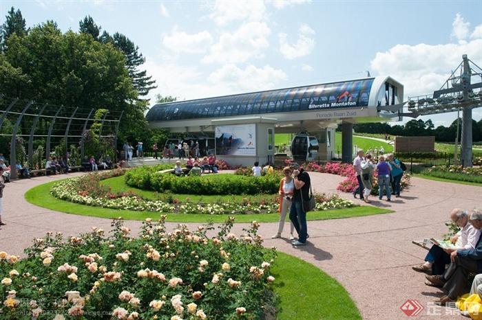 园艺博览会景观设计图 园路花坛植物 设计师图库
