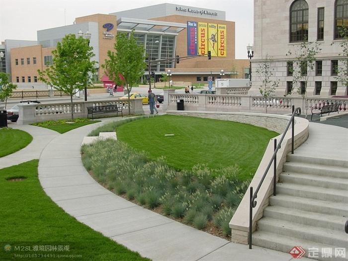 现在公园景观规划设计图-园路地面铺装草坪栏杆台阶
