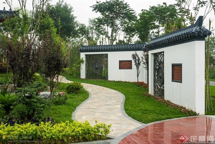 现代某园博园景观设计图-景墙园路地面铺装草坪植物