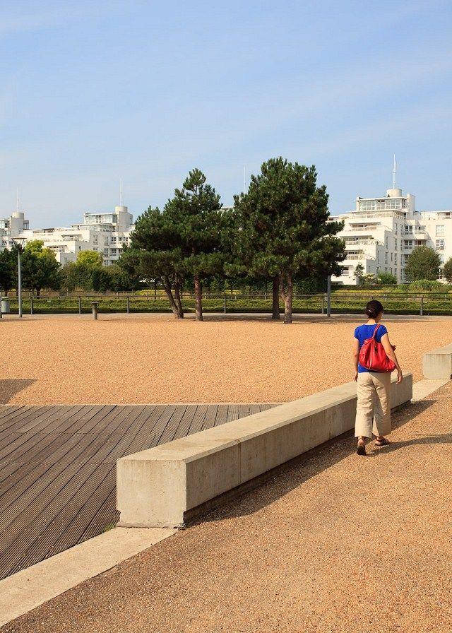 某河坝公园景观规划设计图-矮墙园路地面铺装乔木木