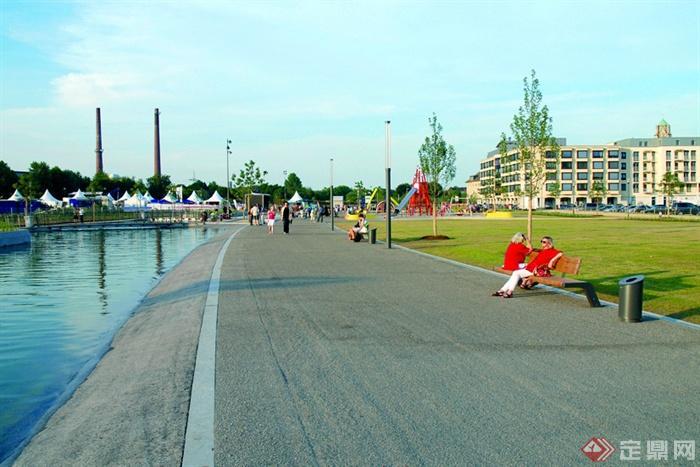 德式风格公园景观设计图-滨水景观园路地面铺装驳岸坐