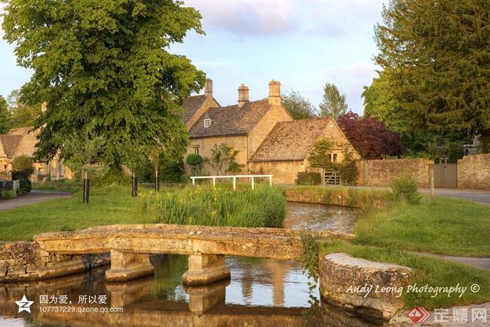 某欧式风格村庄绿化设计图-住宅景观园桥河流景观