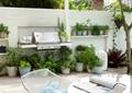 庭院景观,花架,桌椅,花钵