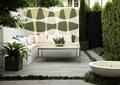 沙發茶幾,盆栽,水缽,植物墻,圍墻,地面鋪裝