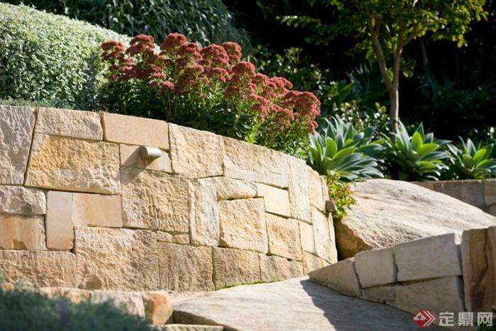别墅庭院景观(2)-矮墙植物-设计师图库