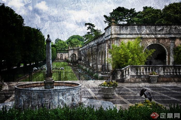长木私家花园景观-圆形水池花钵地面铺装古建筑植物