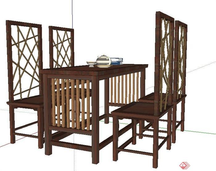 现代中式木制长餐桌椅su模型