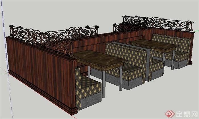 古典风格餐厅卡座沙发餐桌su模型