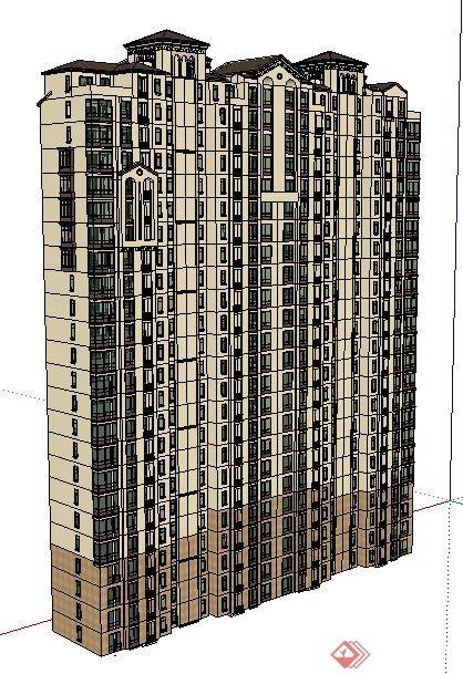 简欧风格高层公寓住宅楼建筑设计su模型