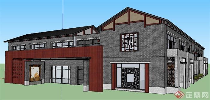 现代中式沿街 商铺及商业接待中心 建筑 设计su模