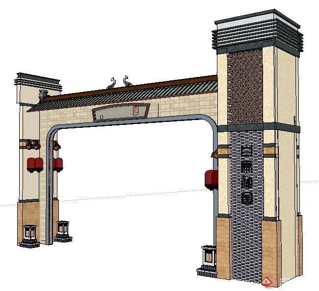 现代新中式社区大门设计su模型(1)
