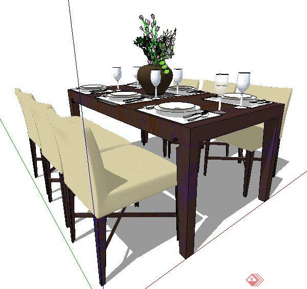 现代简约风格六人餐桌椅su模型