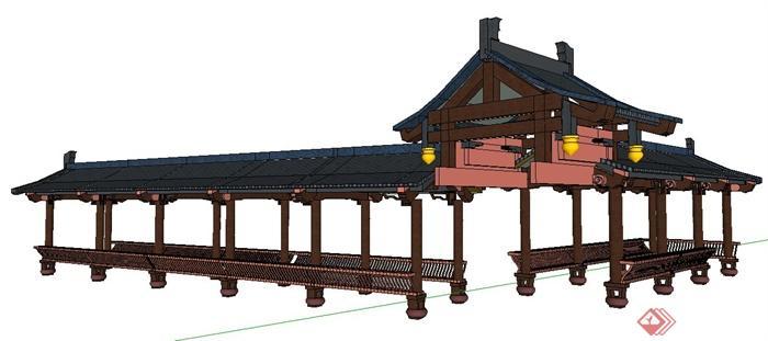 现代中式风格连廊长廊su模型(1)