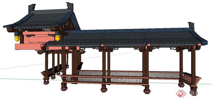 现代中式风格连廊长廊su模型(2)