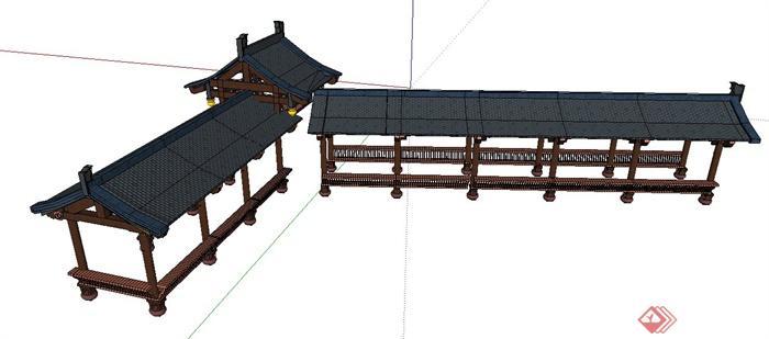 现代中式风格连廊长廊su模型(3)