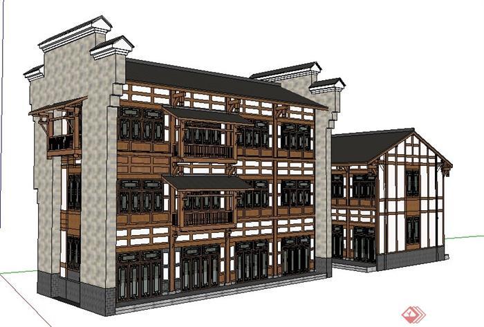 现代中式风格驿站客栈建筑设计su模型
