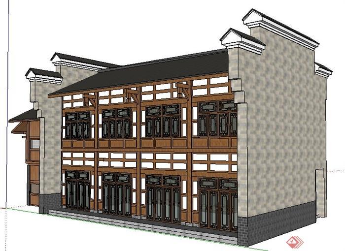 现代中式风格二层客栈建筑设计su模型