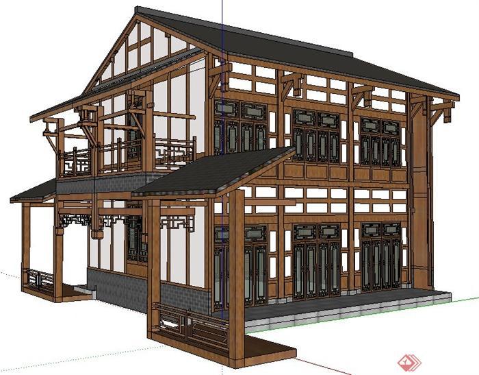 现代中式风格二层客栈建筑su模型