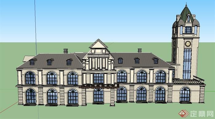 某欧式两层会所建筑设计su模型