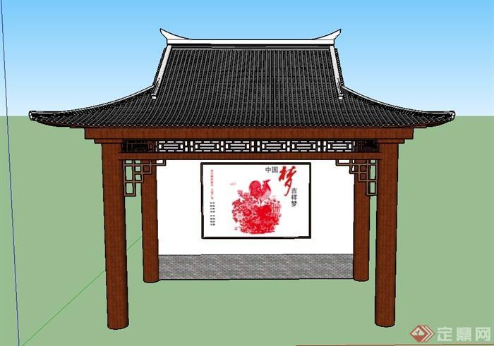 某古典中式风格四角凉亭设计su模型图片