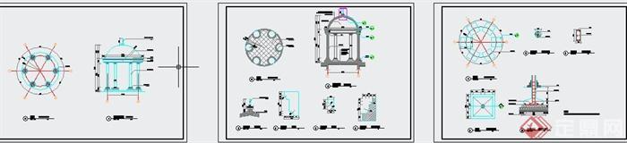 某欧式圆形亭子设计cad施工图