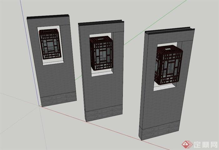 新中式景观灯柱设计su模型(1)图片