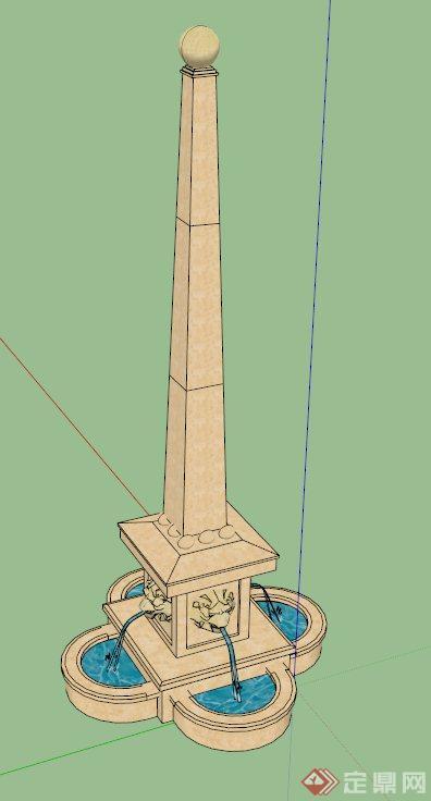 欧式吐水景观柱设计su模型