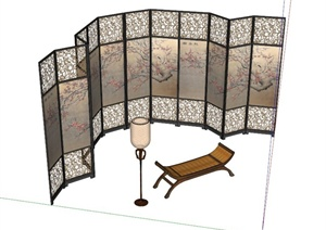 室内屏风落地灯组合设计su(草图大师)模型图片
