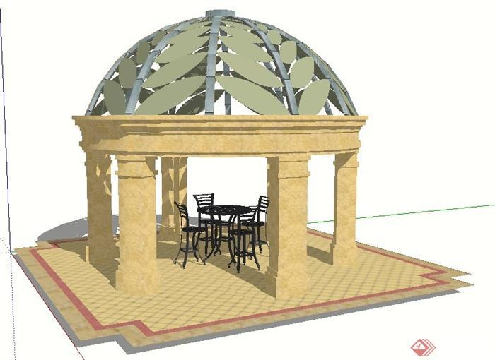 园林景观欧式景观凉亭设计su模型