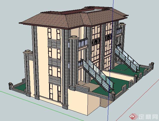 现代中式风格双拼别墅建筑设计su模型