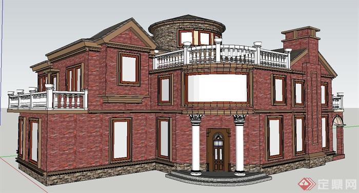 某欧式风格私家别墅建筑设计su模型