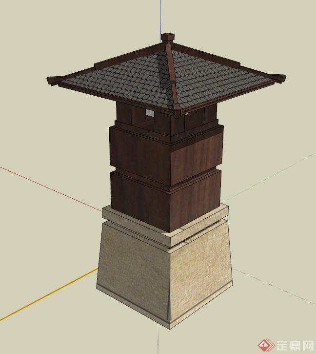 中式灯柱设计su模型