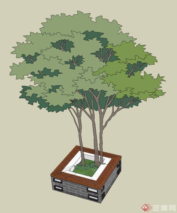 某方形树池坐凳设计su模型(1)