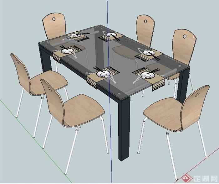 某现代简约风格六人餐桌椅su模型
