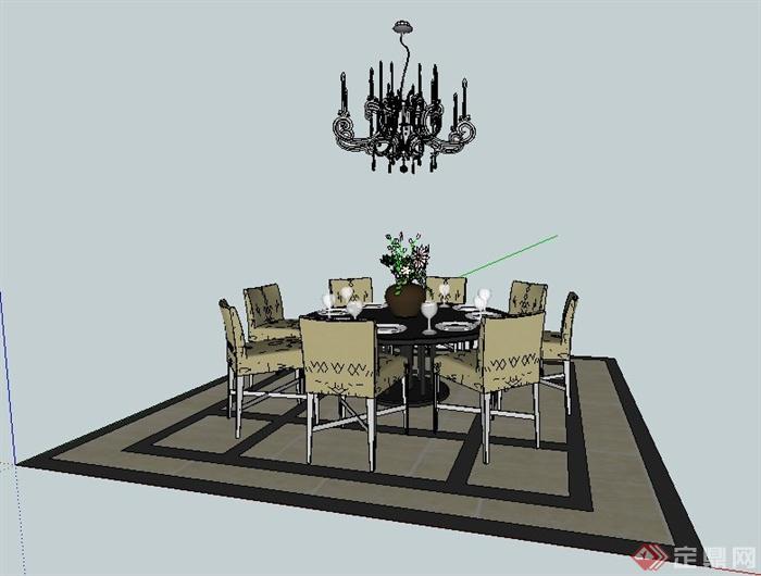 现代风格圆形餐桌椅及吊灯su模型