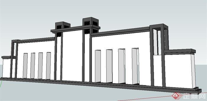 某现代简约中式景墙su模型(1)