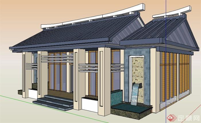 现代新中式单层文化馆建筑设计su模型