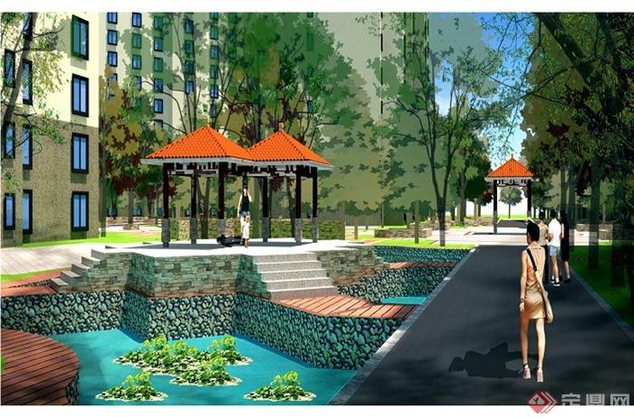 某住宅区生态公园景观设计jpg方案图[原创]