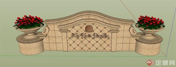 欧式logo墙效果图