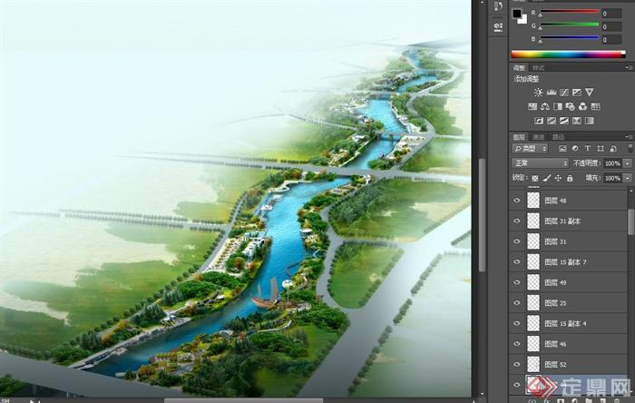 某大型河道滨水景观设计psd效果图[原创]