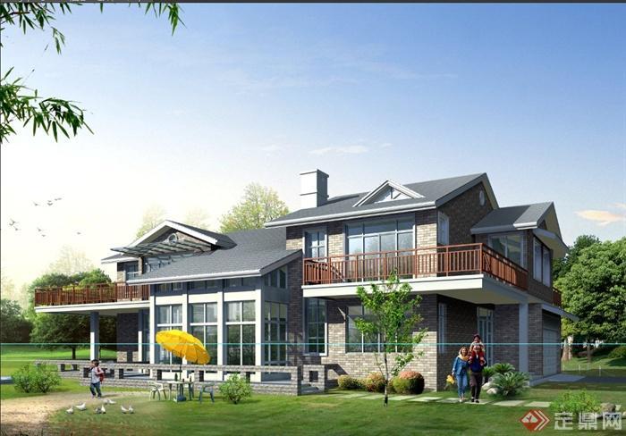 某两层现代中式乡村别墅建筑设计psd效果图[原创]