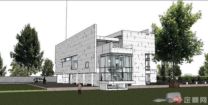 某现代简约别墅住宅建筑设计su模型