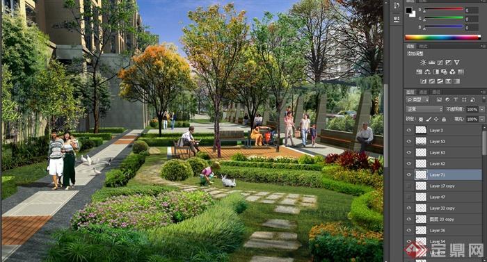 现代某住宅小区庭院景观一角设计psd效果图[原创]