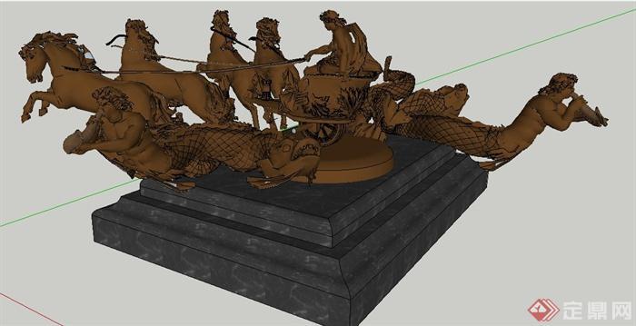 欧式风格人鱼马车雕塑su模型