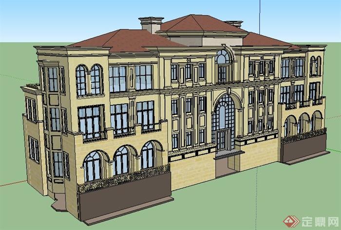 欧式风格双拼三层办公楼建筑设计su模型