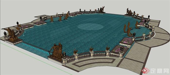 欧式风格人像雕塑喷泉水池su模型