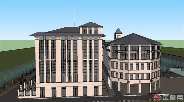 某欧式多层商住楼建筑设计su模型[原创]